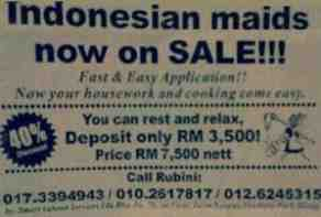 maids on sale advert