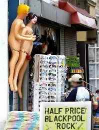 Blow up sex dolls on marjket stall