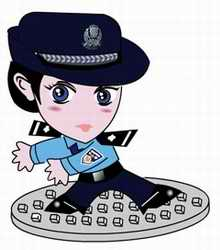 Police cartoon cop Cha