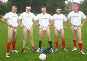 5 a side in pink thongs