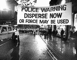 Police Warning to disperse or force may be used