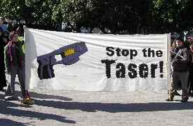 Stop the Taser protest banner