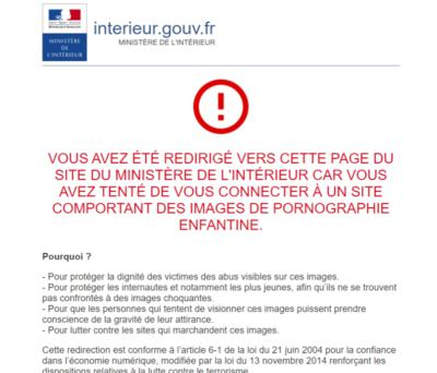 france internet block screen