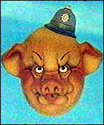 pig with policeman's helmet